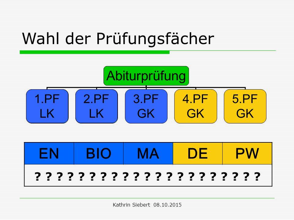 Kathrin Siebert 08.10.2015 Wahl der Prüfungsfächer Abiturprüfung 1.PF LK 2.PF LK 3.PF GK 4.PF GK 5.PF GK 1.PF LK 2.PF LK ENBIOMADEPW .