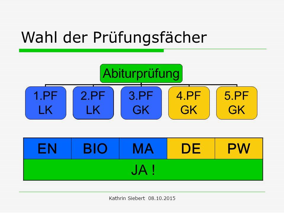 Kathrin Siebert 08.10.2015 Wahl der Prüfungsfächer Abiturprüfung 1.PF LK 2.PF LK 3.PF GK 4.PF GK 5.PF GK 2.PF LK ENBIOMADEPW JA !