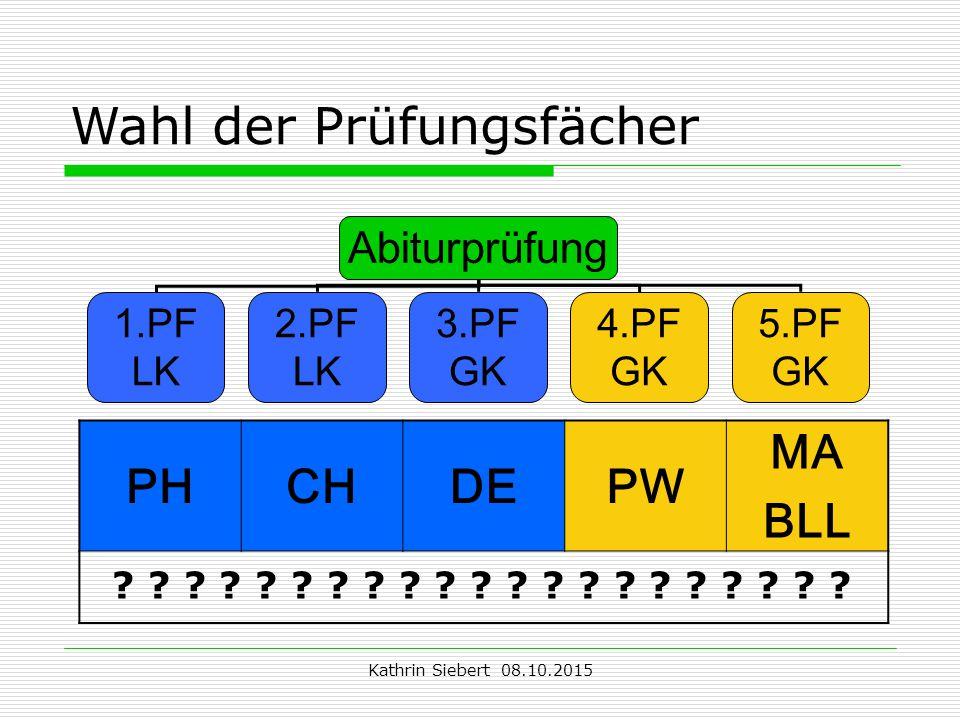 Kathrin Siebert 08.10.2015 Wahl der Prüfungsfächer Abiturprüfung 1.PF LK 2.PF LK 3.PF GK 4.PF GK 5.PF GK PHCHDEPW MA BLL .
