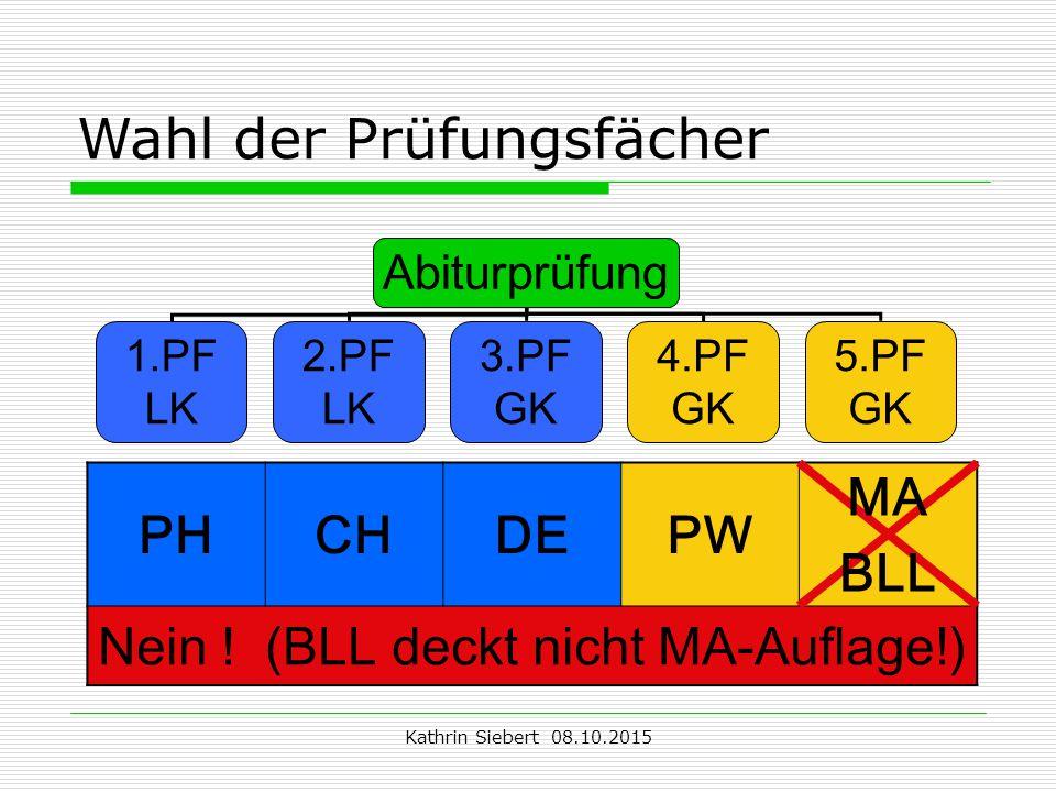 Kathrin Siebert 08.10.2015 Wahl der Prüfungsfächer Abiturprüfung 1.PF LK 2.PF LK 3.PF GK 4.PF GK 5.PF GK PHCHDEPW MA BLL Nein .