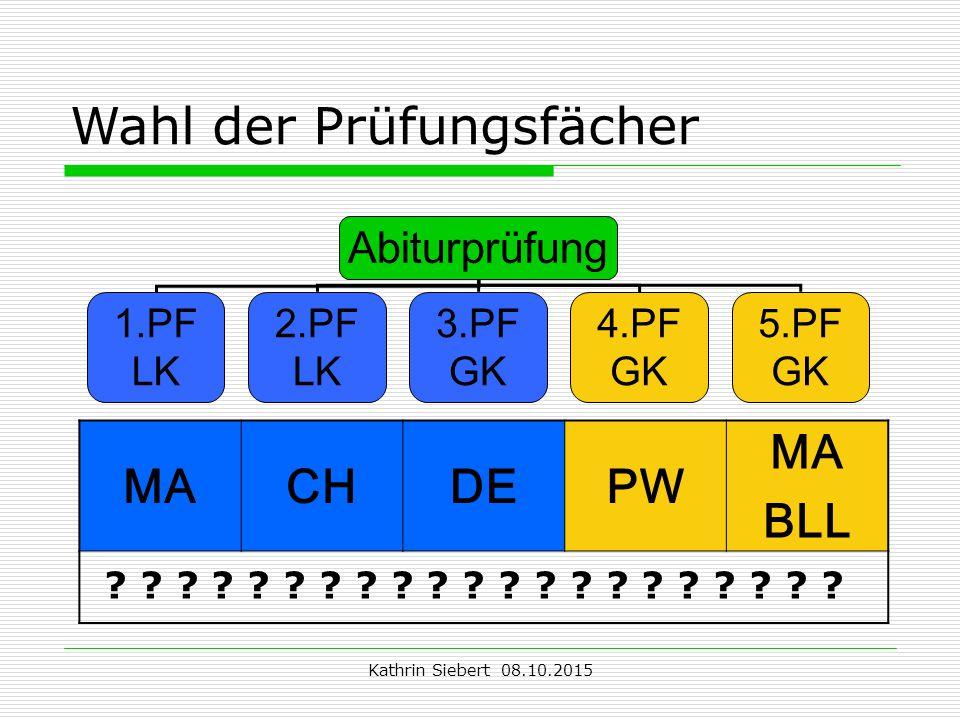 Kathrin Siebert 08.10.2015 Wahl der Prüfungsfächer Abiturprüfung 1.PF LK 2.PF LK 3.PF GK 4.PF GK 5.PF GK MACHDEPW MA BLL .