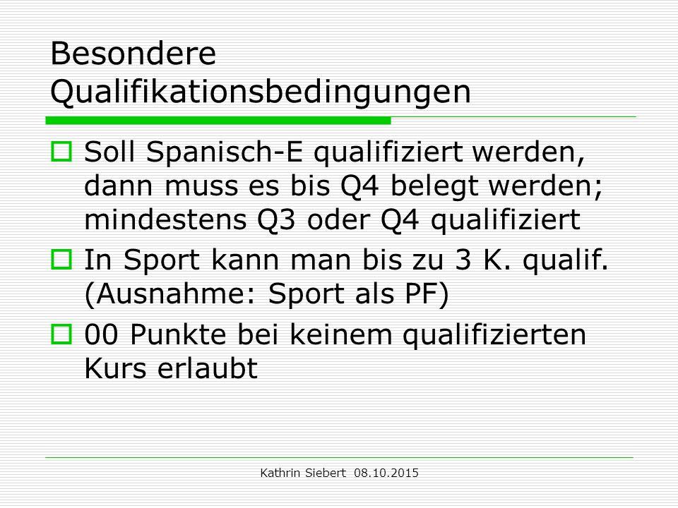 Kathrin Siebert 08.10.2015 Besondere Qualifikationsbedingungen  Soll Spanisch-E qualifiziert werden, dann muss es bis Q4 belegt werden; mindestens Q3 oder Q4 qualifiziert  In Sport kann man bis zu 3 K.
