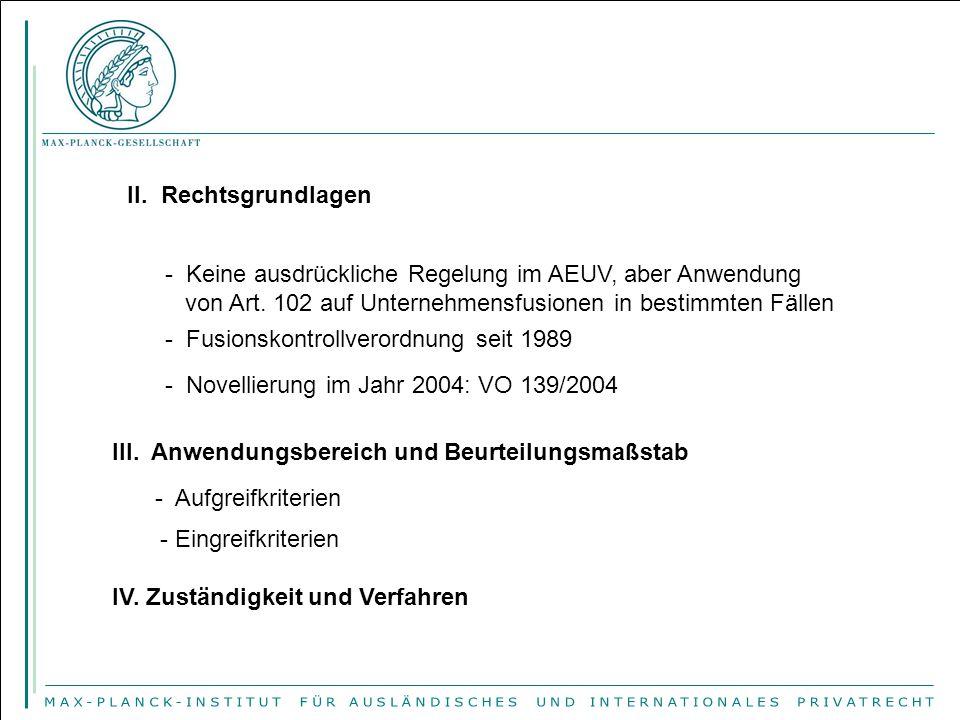 II. Rechtsgrundlagen - Keine ausdrückliche Regelung im AEUV, aber Anwendung von Art.