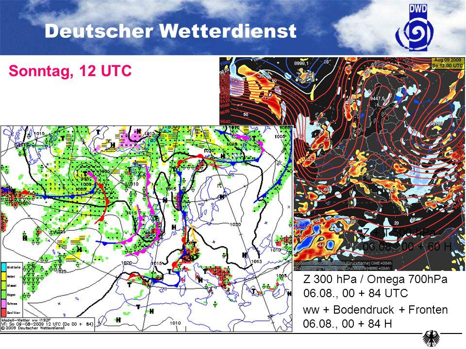 Deutscher Wetterdienst Analyse (A-Format), 04.08., 06 UTC Z 300 hPa / Omega 700 hPa 04.08., 00 + 06 H