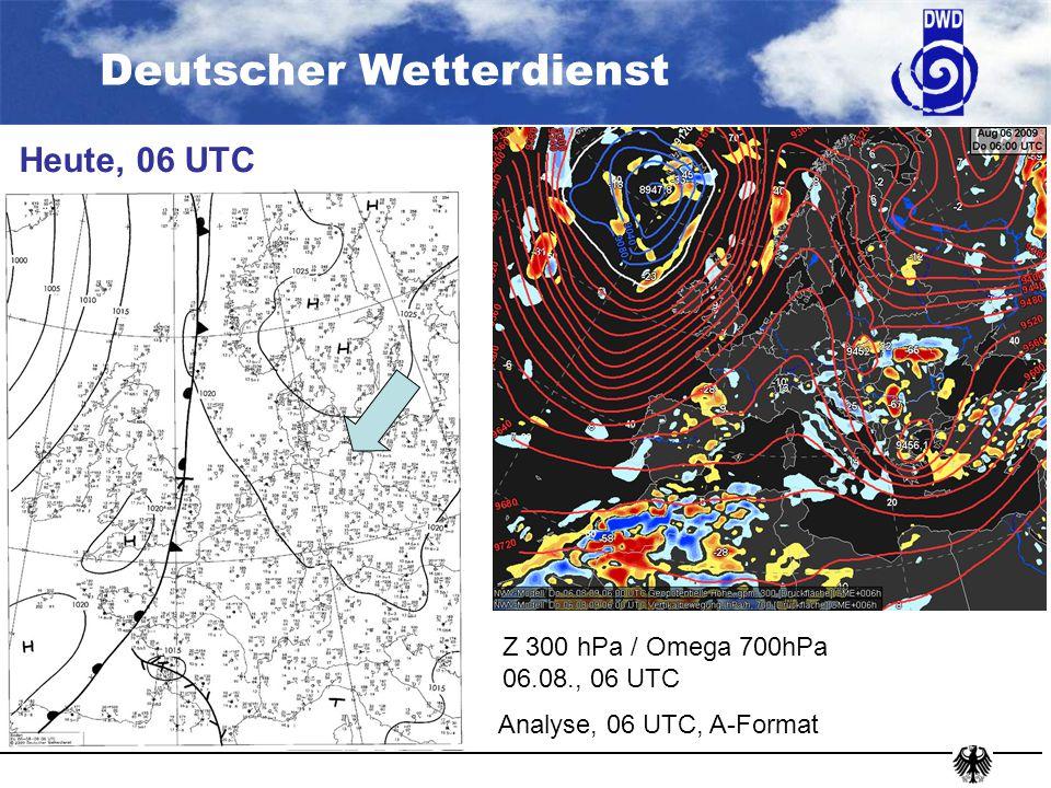 Deutscher Wetterdienst Sonntag, 12 UTC GME, TKB + ww GME, 23.07., 00 + 84 H Z 300 hPa / Omega 700 hPa