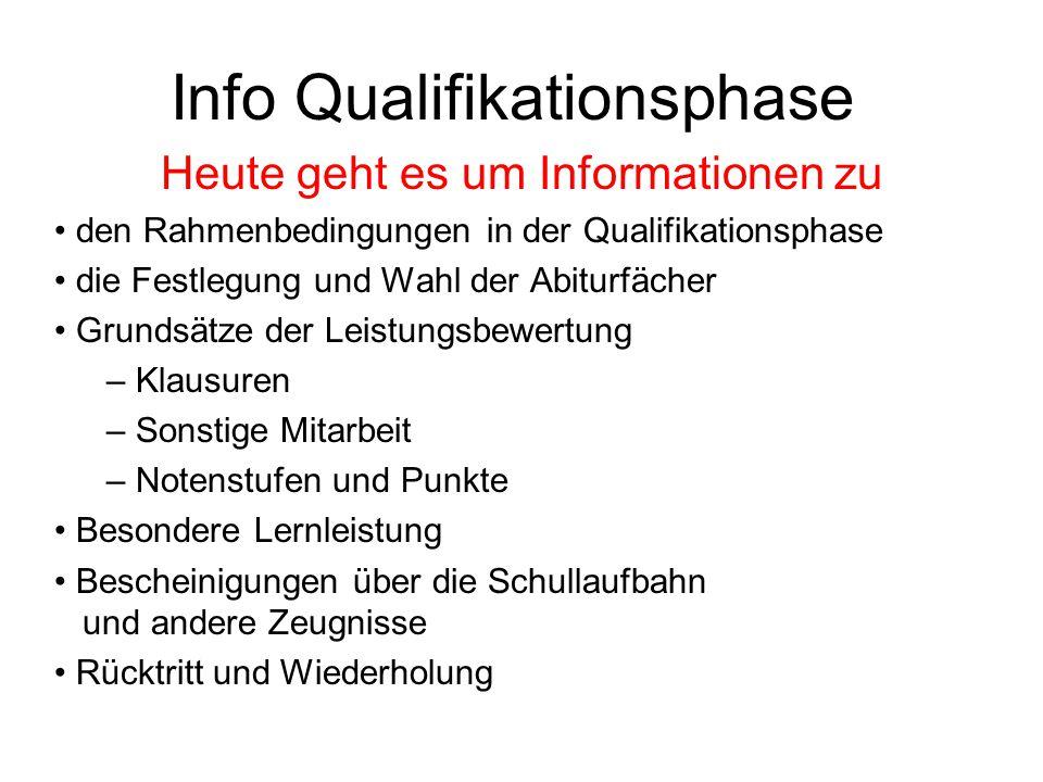 Info Qualifikationsphase Heute geht es um Informationen zu den Rahmenbedingungen in der Qualifikationsphase die Festlegung und Wahl der Abiturfächer G