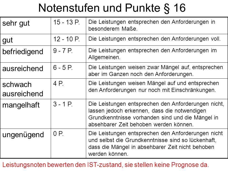 Notenstufen und Punkte § 16 sehr gut 15 - 13 P. Die Leistungen entsprechen den Anforderungen in besonderem Maße. gut 12 - 10 P. Die Leistungen entspre