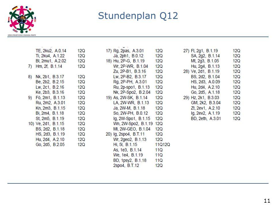 Stundenplan Q12 11