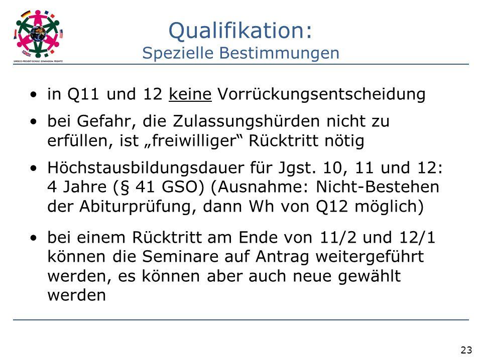 """Qualifikation: Spezielle Bestimmungen in Q11 und 12 keine Vorrückungsentscheidung bei Gefahr, die Zulassungshürden nicht zu erfüllen, ist """"freiwillige"""