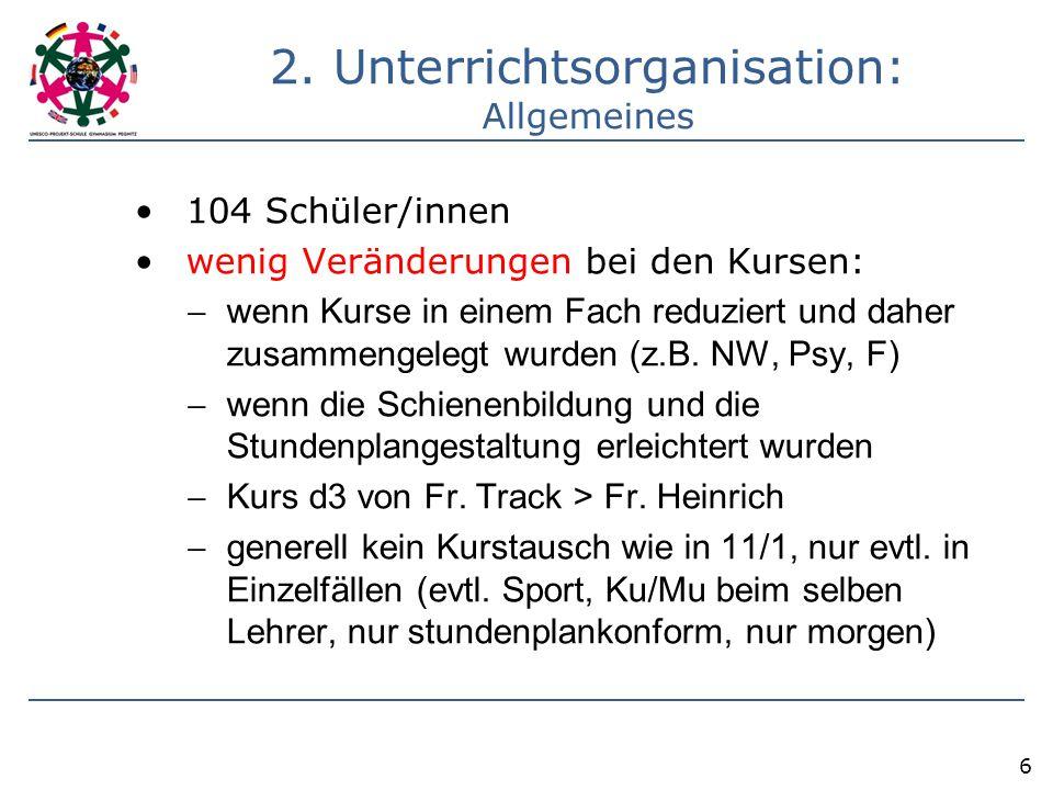 2. Unterrichtsorganisation: Allgemeines 104 Schüler/innen wenig Veränderungen bei den Kursen:  wenn Kurse in einem Fach reduziert und daher zusammeng