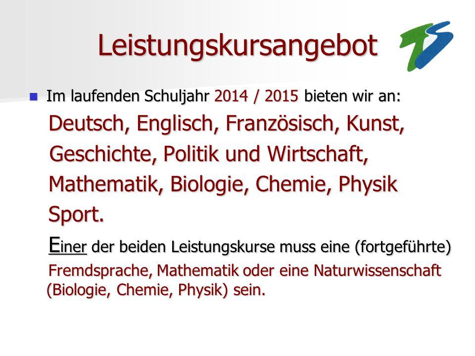 Leistungskursangebot Im laufenden Schuljahr 2014 / 2015 bieten wir an: Im laufenden Schuljahr 2014 / 2015 bieten wir an: Deutsch, Englisch, Französisc