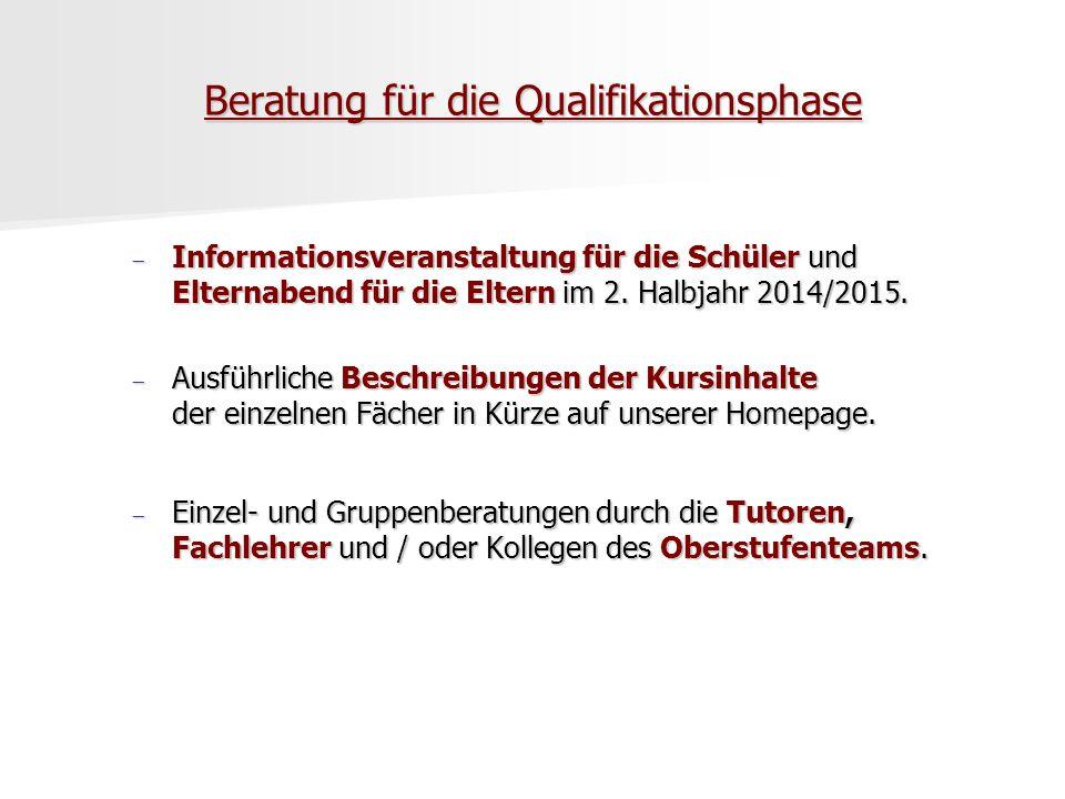 Beratung für die Qualifikationsphase  Informationsveranstaltung für die Schüler und Elternabend für die Eltern im 2. Halbjahr 2014/2015.  Ausführlic