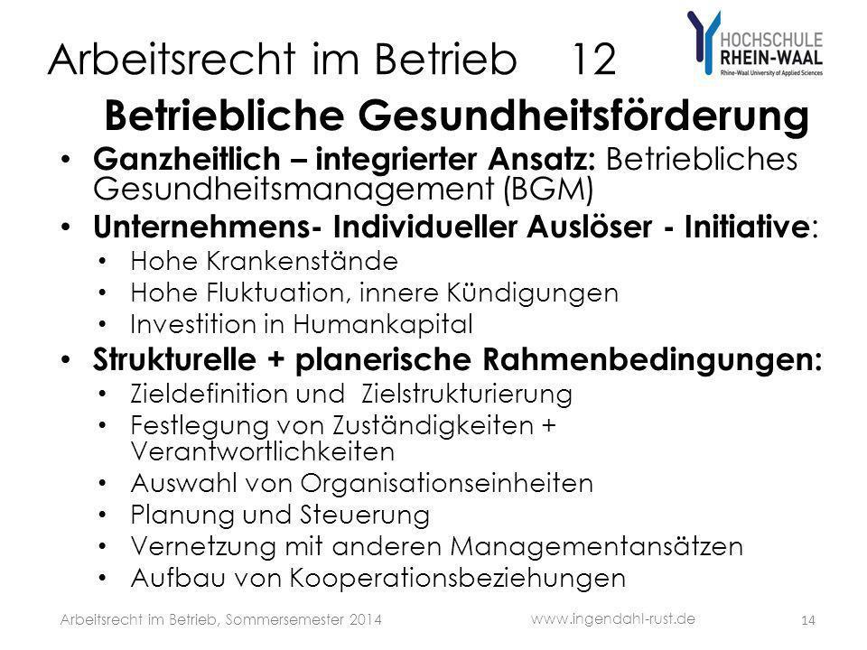 Arbeitsrecht im Betrieb 12 Betriebliche Gesundheitsförderung Ganzheitlich – integrierter Ansatz: Betriebliches Gesundheitsmanagement (BGM) Unternehmen
