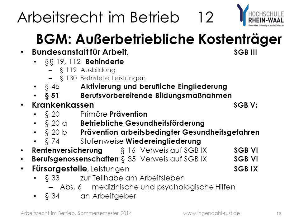 Arbeitsrecht im Betrieb 12 BGM: Außerbetriebliche Kostenträger Bundesanstalt für Arbeit, SGB III §§ 19, 112 Behinderte – § 119Ausbildung – § 130 Befri