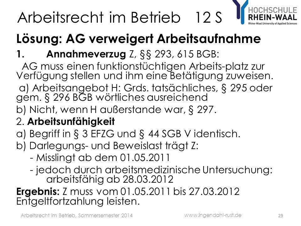 Arbeitsrecht im Betrieb 12 S Lösung: AG verweigert Arbeitsaufnahme 1. Annahmeverzug Z, §§ 293, 615 BGB: AG muss einen funktionstüchtigen Arbeits-platz