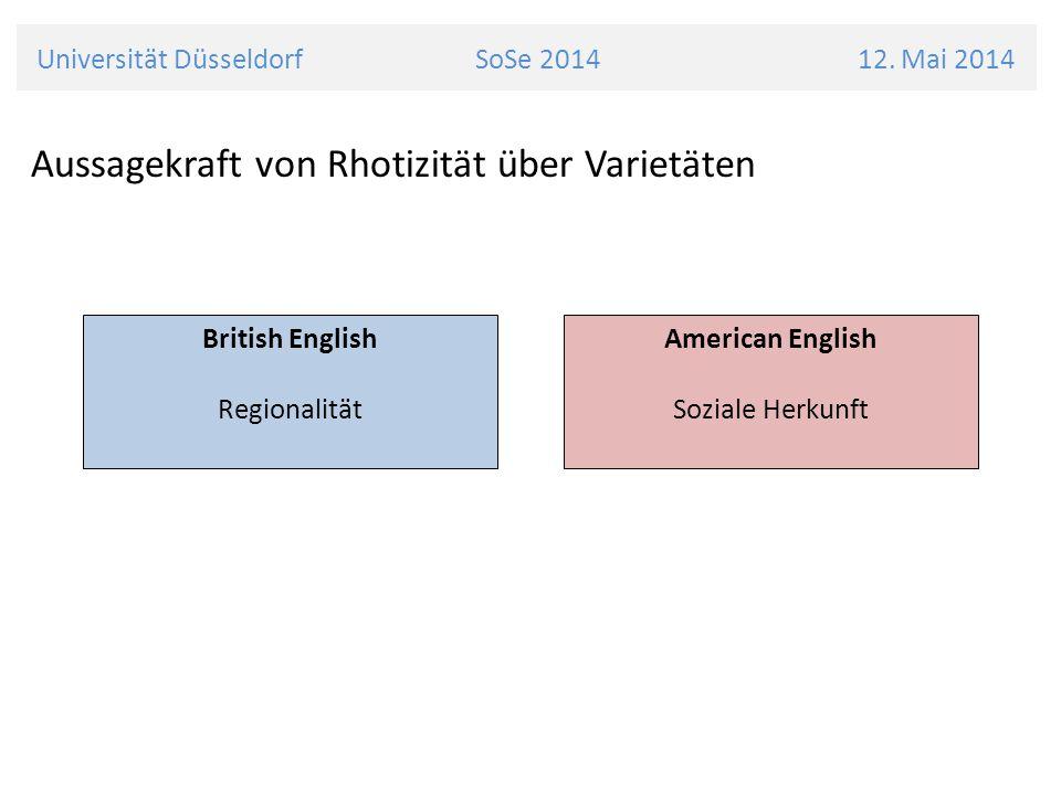 Universität Düsseldorf SoSe 2014 12. Mai 2014 Aussagekraft von Rhotizität über Varietäten British English Regionalität American English Soziale Herkun