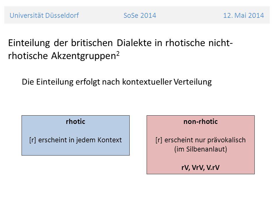 Universität Düsseldorf SoSe 2014 12. Mai 2014 Einteilung der britischen Dialekte in rhotische nicht- rhotische Akzentgruppen 2 Die Einteilung erfolgt