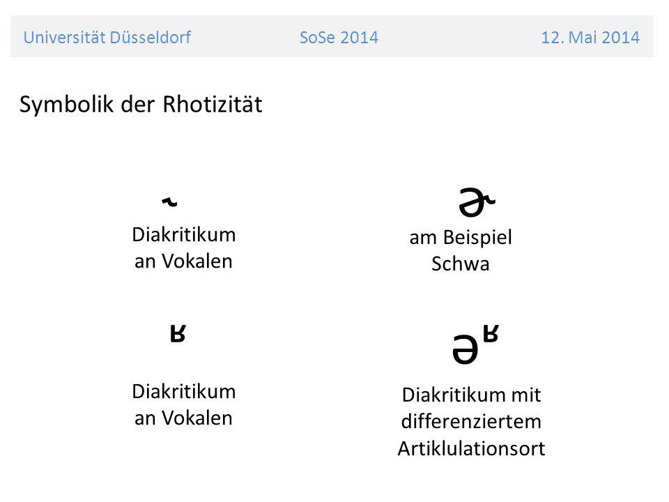 Universität Düsseldorf SoSe 2014 12. Mai 2014 Symbolik der Rhotizität ˞ ɚ ʶ əʶ Diakritikum an Vokalen am Beispiel Schwa Diakritikum an Vokalen Diakrit