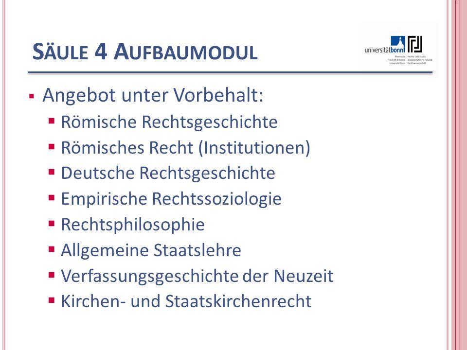 S ÄULE 4 A UFBAUMODUL  Angebot unter Vorbehalt:  Römische Rechtsgeschichte  Römisches Recht (Institutionen)  Deutsche Rechtsgeschichte  Empirisch