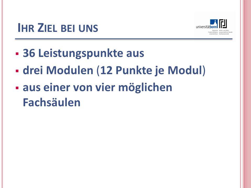 I HR Z IEL BEI UNS  36 Leistungspunkte aus  drei Modulen (12 Punkte je Modul)  aus einer von vier möglichen Fachsäulen