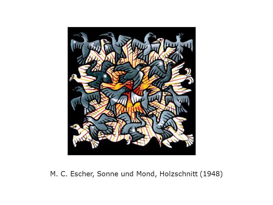 M. C. Escher, Sonne und Mond, Holzschnitt (1948)