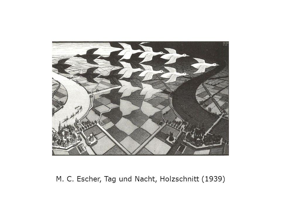 M. C. Escher, Tag und Nacht, Holzschnitt (1939)