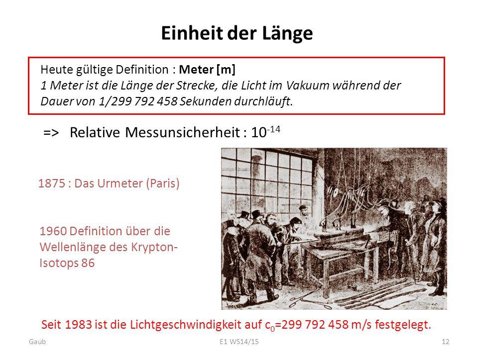 1875 : Das Urmeter (Paris) Seit 1983 ist die Lichtgeschwindigkeit auf c 0 =299 792 458 m/s festgelegt. Einheit der Länge => Relative Messunsicherheit