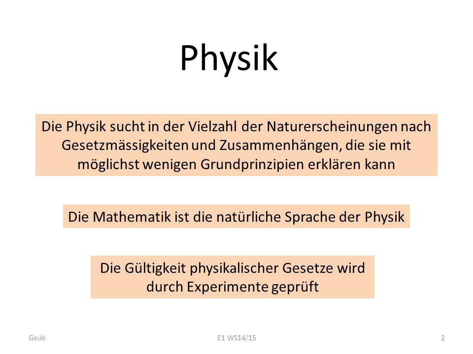 Die Physik sucht in der Vielzahl der Naturerscheinungen nach Gesetzmässigkeiten und Zusammenhängen, die sie mit möglichst wenigen Grundprinzipien erkl