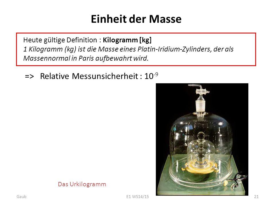 Einheit der Masse => Relative Messunsicherheit : 10 -9 Heute gültige Definition : Kilogramm [kg] 1 Kilogramm (kg) ist die Masse eines Platin-Iridium-Z