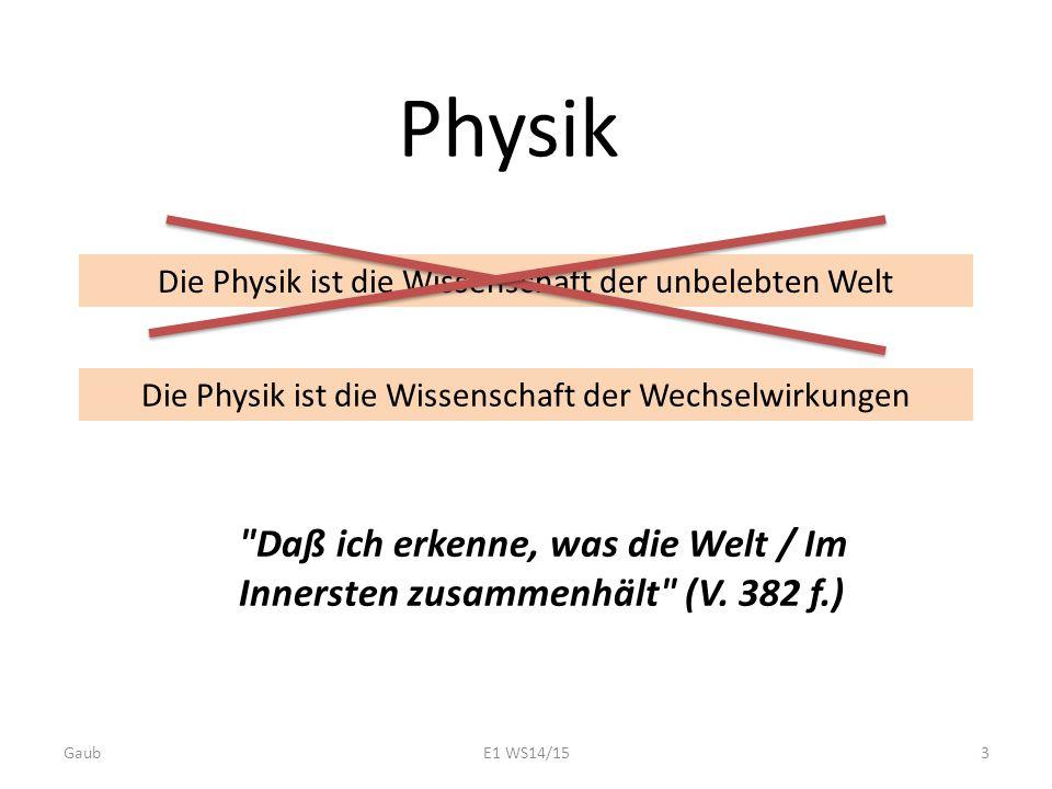 Die Physik ist die Wissenschaft der unbelebten Welt Physik Gaub3E1 WS14/15 Die Physik ist die Wissenschaft der Wechselwirkungen