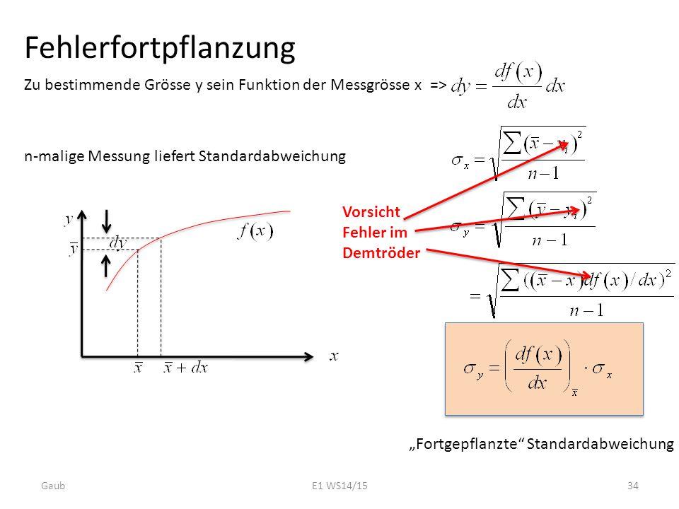 """Fehlerfortpflanzung Zu bestimmende Grösse y sein Funktion der Messgrösse x => n-malige Messung liefert Standardabweichung """"Fortgepflanzte"""" Standardabw"""