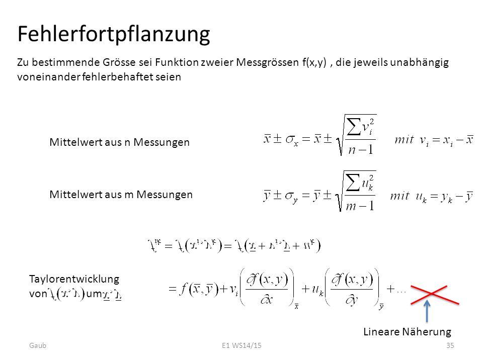 Fehlerfortpflanzung Zu bestimmende Grösse sei Funktion zweier Messgrössen f(x,y), die jeweils unabhängig voneinander fehlerbehaftet seien Mittelwert a