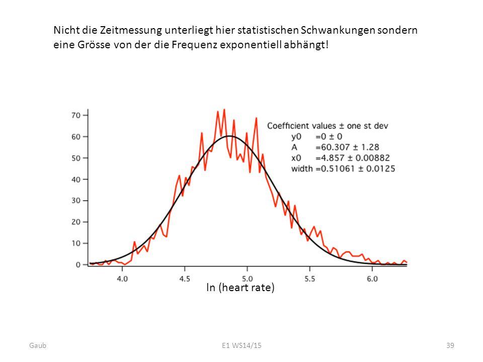 Nicht die Zeitmessung unterliegt hier statistischen Schwankungen sondern eine Grösse von der die Frequenz exponentiell abhängt! ln (heart rate) Gaub39