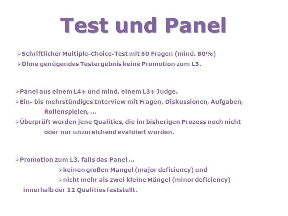 Test und Panel  Schriftlicher Multiple-Choice-Test mit 50 Fragen (mind. 80%)  Ohne genügendes Testergebnis keine Promotion zum L3.  Panel aus einem
