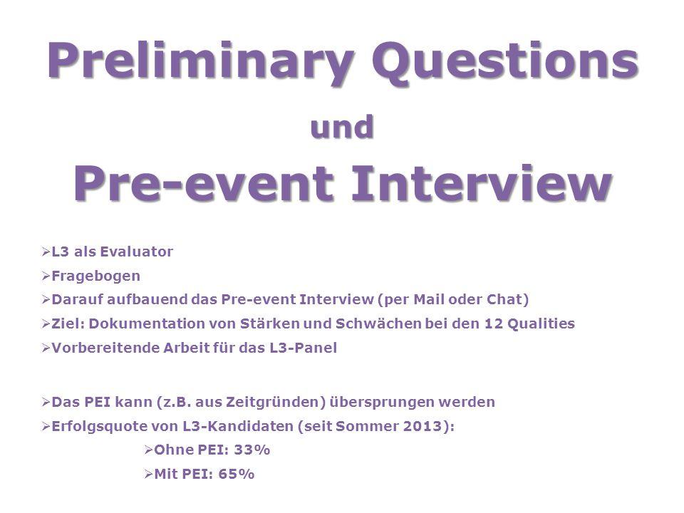 Preliminary Questions und Pre-event Interview  L3 als Evaluator  Fragebogen  Darauf aufbauend das Pre-event Interview (per Mail oder Chat)  Ziel: Dokumentation von Stärken und Schwächen bei den 12 Qualities  Vorbereitende Arbeit für das L3-Panel  Das PEI kann (z.B.