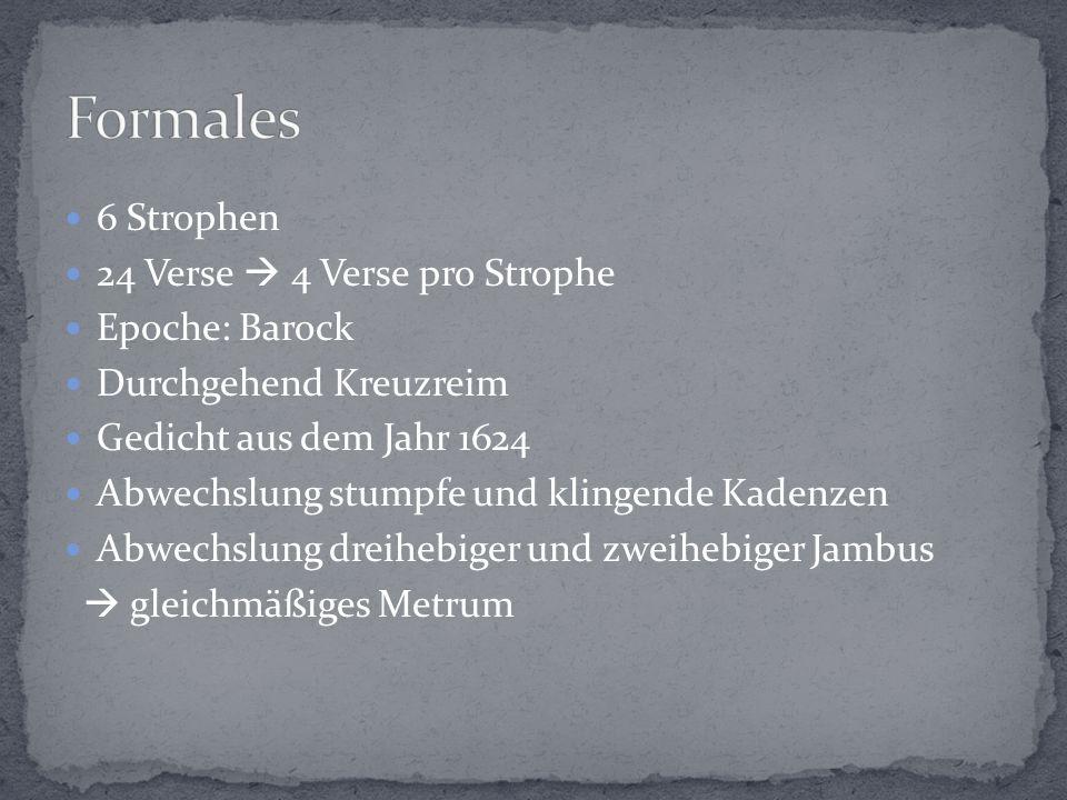 6 Strophen 24 Verse  4 Verse pro Strophe Epoche: Barock Durchgehend Kreuzreim Gedicht aus dem Jahr 1624 Abwechslung stumpfe und klingende Kadenzen Abwechslung dreihebiger und zweihebiger Jambus  gleichmäßiges Metrum