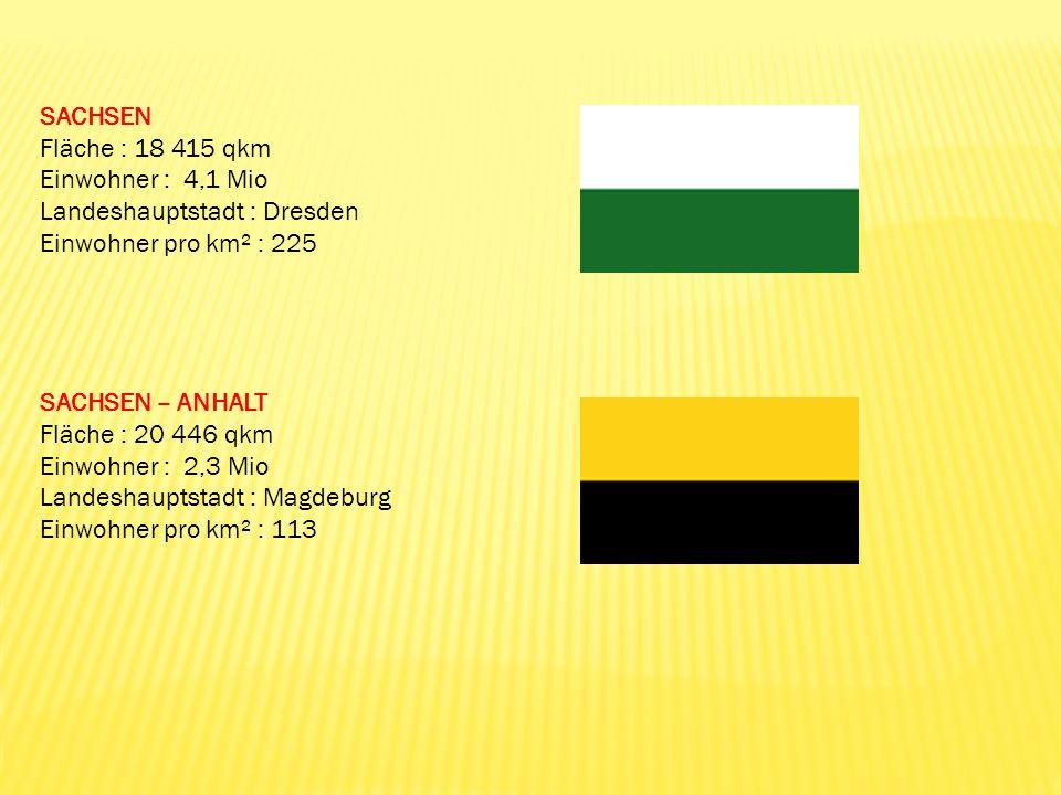 SACHSEN Fläche : 18 415 qkm Einwohner : 4,1 Mio Landeshauptstadt : Dresden Einwohner pro km² : 225 SACHSEN – ANHALT Fläche : 20 446 qkm Einwohner : 2,
