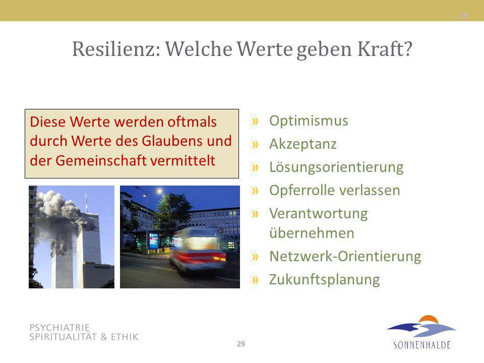 29 Resilienz: Welche Werte geben Kraft? »Optimismus »Akzeptanz »Lösungsorientierung »Opferrolle verlassen »Verantwortung übernehmen »Netzwerk-Orientie