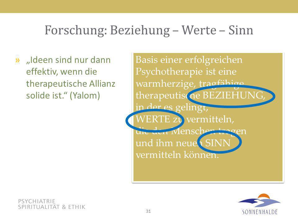 31 Forschung: Beziehung – Werte – Sinn Basis einer erfolgreichen Psychotherapie ist eine warmherzige, tragfähige therapeutische BEZIEHUNG, in der es g