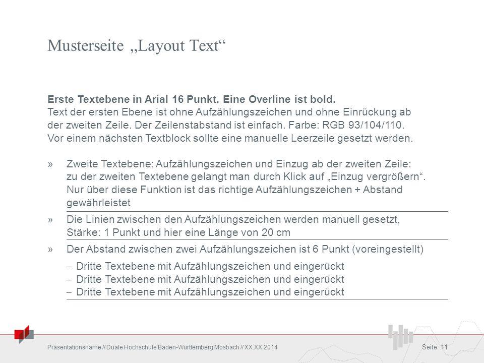 """Musterseite """"Layout Text"""" Erste Textebene in Arial 16 Punkt. Eine Overline ist bold. Text der ersten Ebene ist ohne Aufzählungszeichen und ohne Einrüc"""