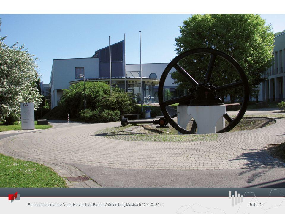 Präsentationsname // Duale Hochschule Baden-Württemberg Mosbach // XX.XX.2014 Seite 15