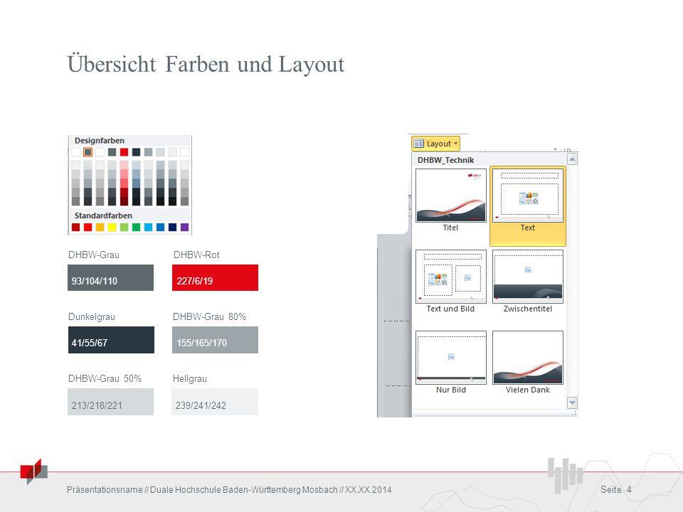 Übersicht Farben und Layout Präsentationsname // Duale Hochschule Baden-Württemberg Mosbach // XX.XX.2014 Seite 4 DHBW-GrauDHBW-Rot DunkelgrauDHBW-Gra