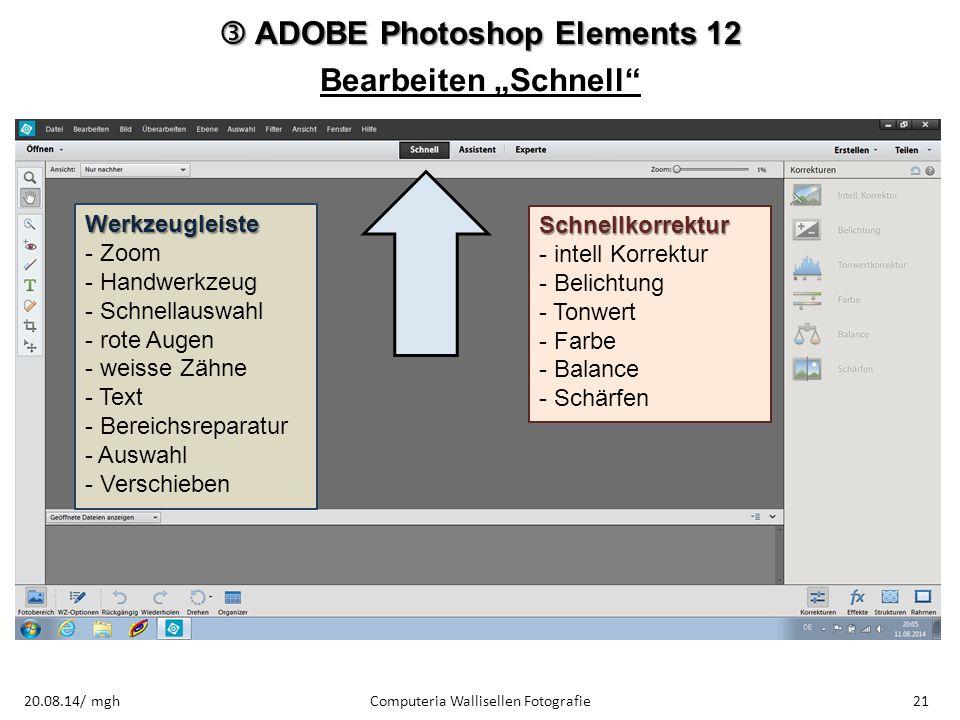 """ ADOBE Photoshop Elements 12 Bearbeiten """"Schnell"""" Computeria Wallisellen Fotografie2120.08.14/ mgh Werkzeugleiste - Zoom - Handwerkzeug - Schnellausw"""