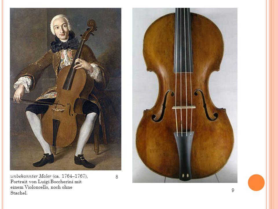 unbekannter Maler (ca. 1764–1767), Portrait von Luigi Boccherini mit einem Violoncello, noch ohne Stachel. 8 9