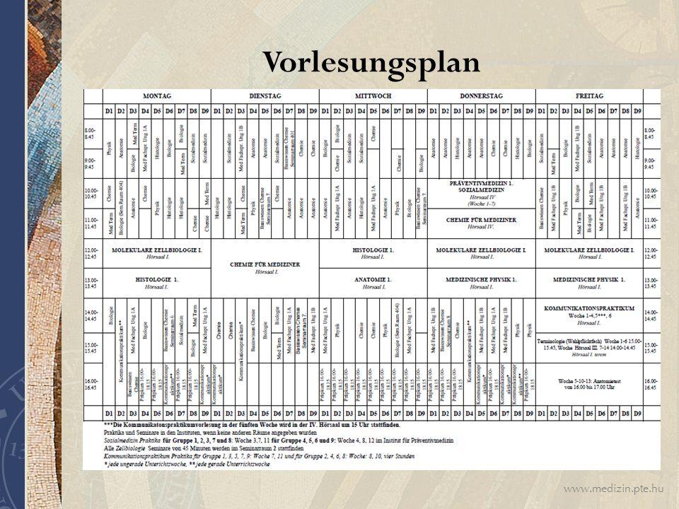 www.medizin.pte.hu Vorlesungsplan