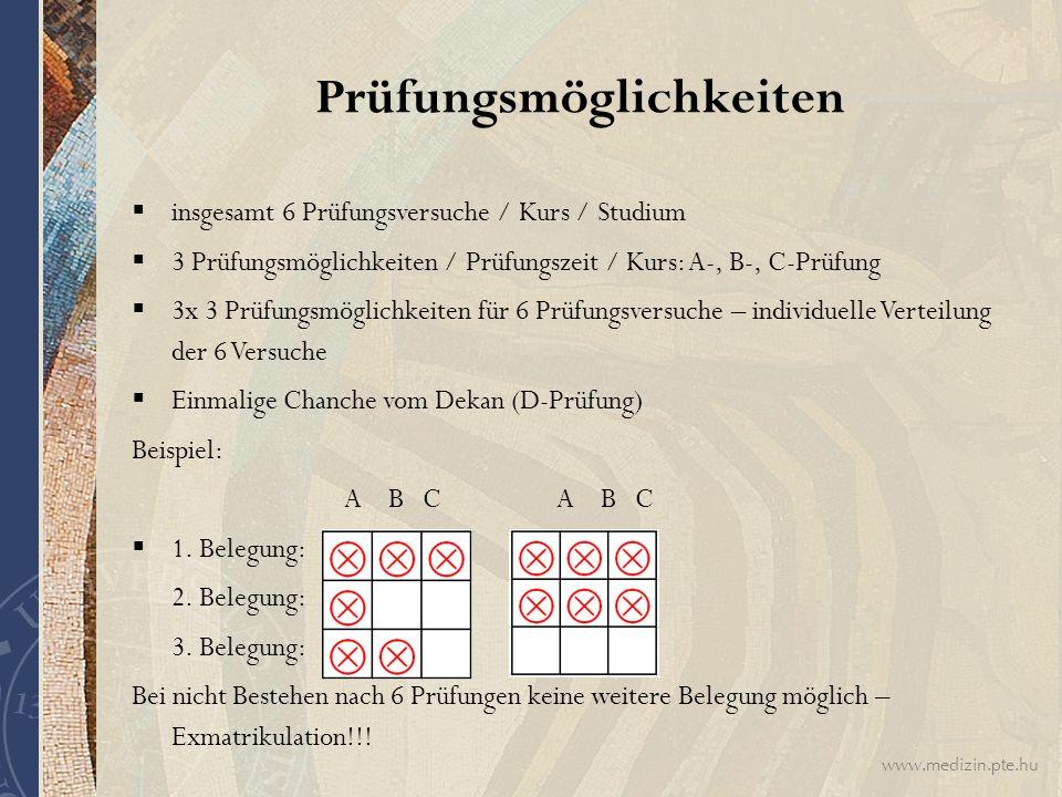 www.medizin.pte.hu  insgesamt 6 Prüfungsversuche / Kurs / Studium  3 Prüfungsmöglichkeiten / Prüfungszeit / Kurs: A-, B-, C-Prüfung  3x 3 Prüfungsm
