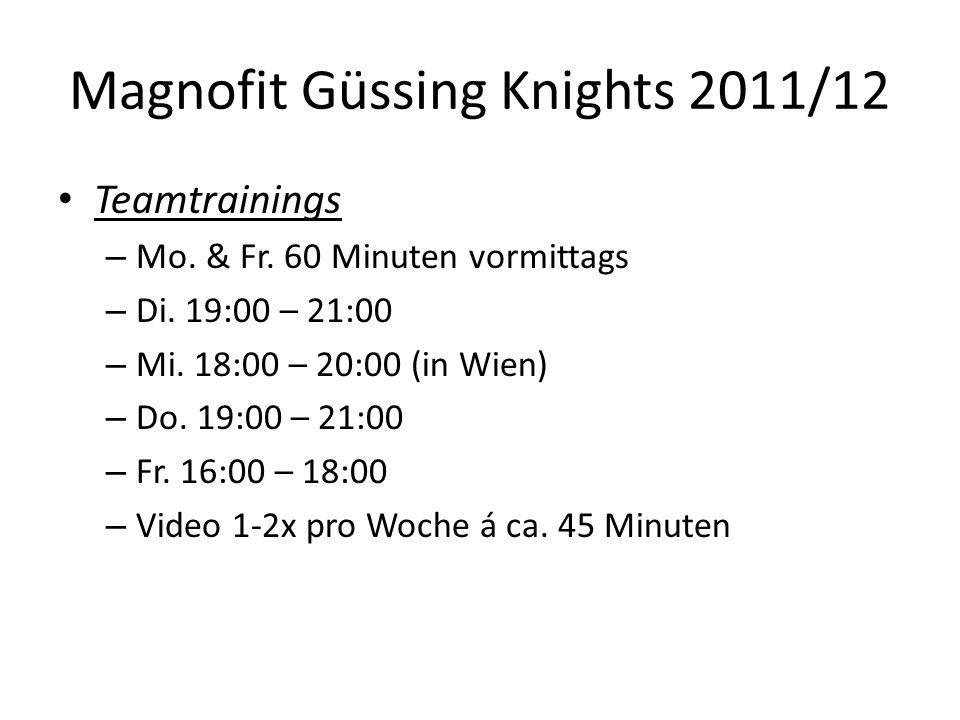 Magnofit Güssing Knights 2011/12 Teamtrainings – Mo. & Fr. 60 Minuten vormittags – Di. 19:00 – 21:00 – Mi. 18:00 – 20:00 (in Wien) – Do. 19:00 – 21:00