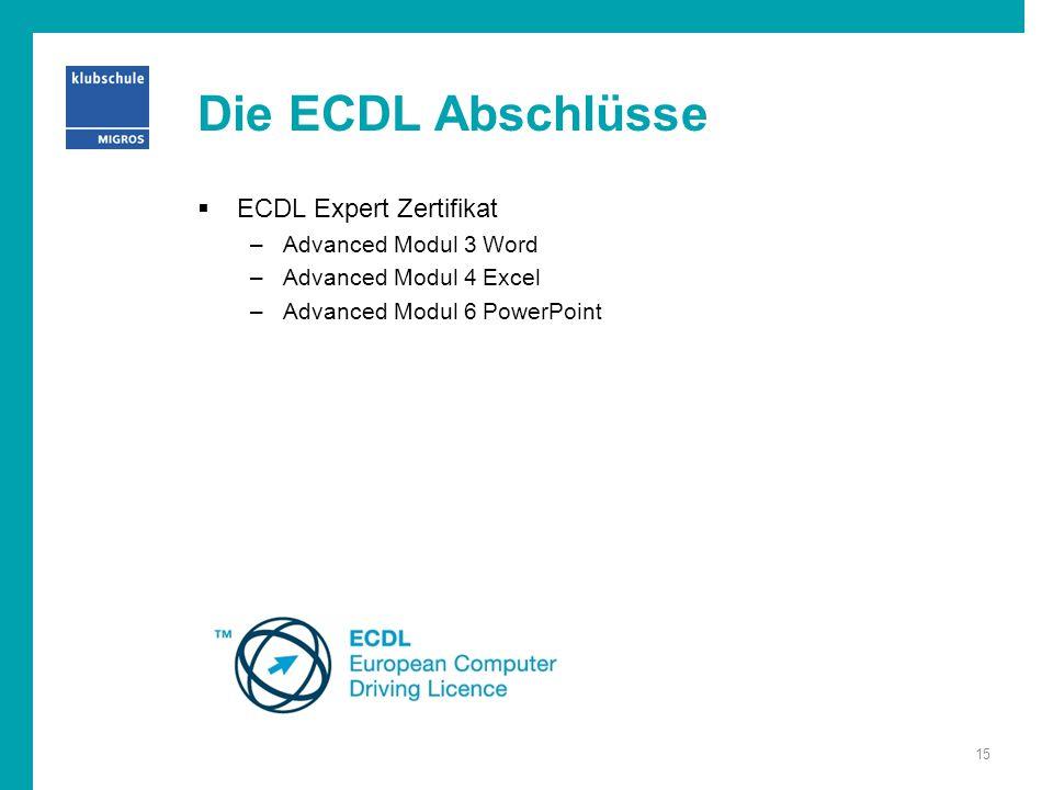 Die ECDL Abschlüsse  ECDL Expert Zertifikat –Advanced Modul 3 Word –Advanced Modul 4 Excel –Advanced Modul 6 PowerPoint 15