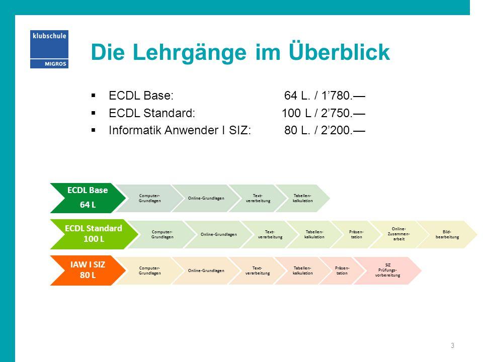 Die Lehrgänge im Überblick  ECDL Base: 64 L. / 1'780.—  ECDL Standard:100 L / 2'750.—  Informatik Anwender I SIZ: 80 L. / 2'200.— ECDL Base 64 L Co