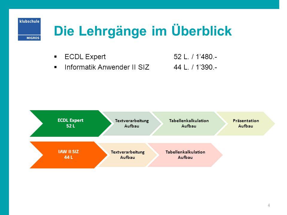 Die Lehrgänge im Überblick  ECDL Expert52 L. / 1'480.-  Informatik Anwender II SIZ44 L. / 1'390.- ECDL Expert 52 L Textverarbeitung Aufbau Tabellenk